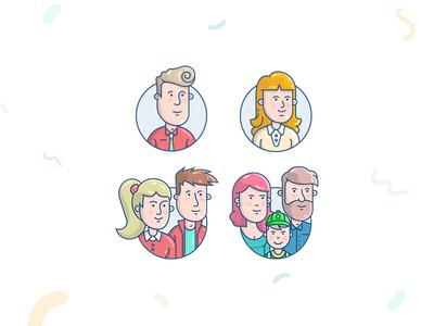 Family vector app male female couple illustration family