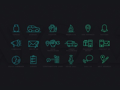 Fuel station app icons survey near translator campain products station line icon app fuel