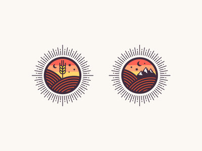 Natural Badge mountain vector creative star moon sun wheat line icon badge natural