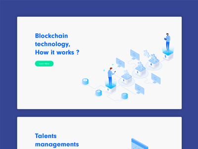 Blockchain technology, how it works. (illustration) landing ux ui isometric how it vector illustration blockchain