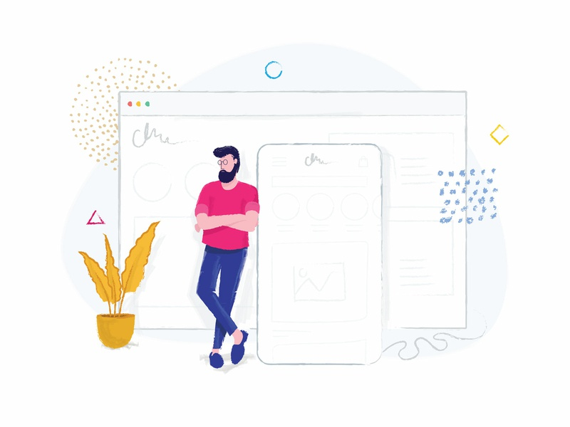 Shopify Mobile Integrated brush mobile theme e-commerce theme e-commerce shop man plant mobile shopify web app line vector illustration