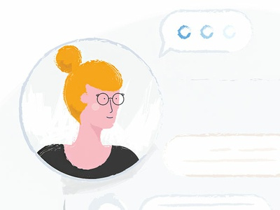Chat simple woman illustrator shopify chat girl illustration vector