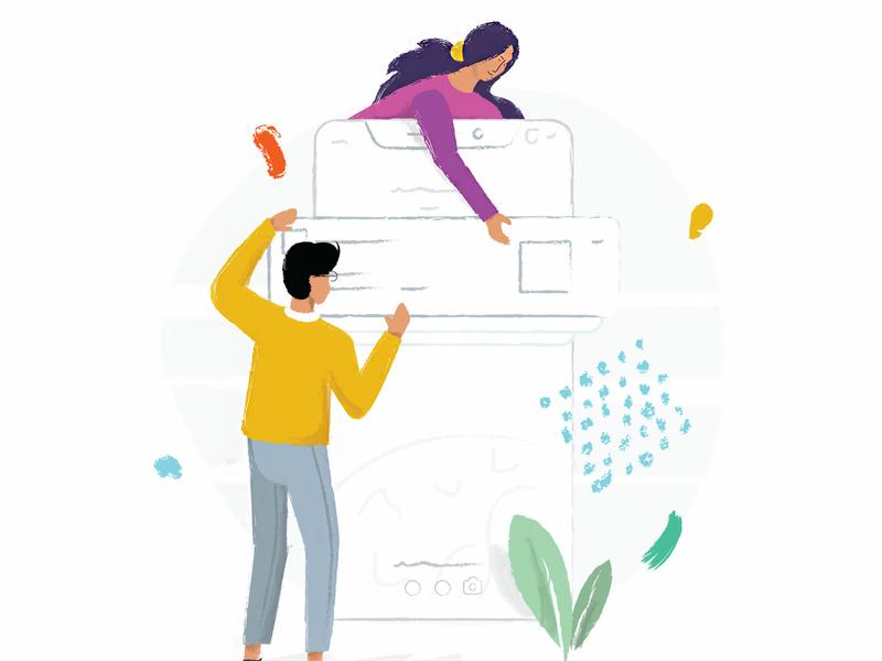 Push notification color illustrations mobile plant women man vector illustration push