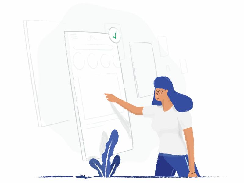 Themes plant selection simple girl women ui mobile design vector line illustration