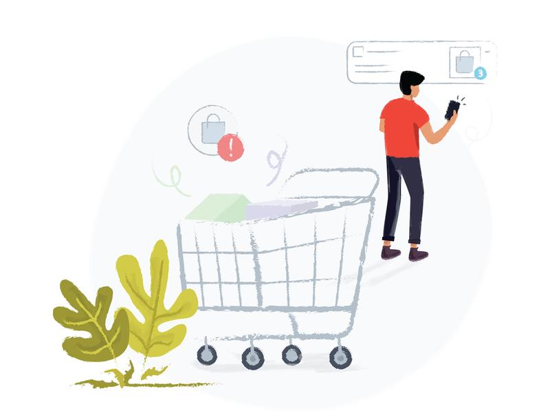 Abandonment Cart notifications shopping basket abondon shopping cart illustration design vector