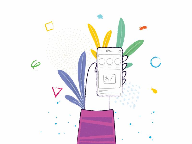 Login mobile app phone plant mobile login illustration vector