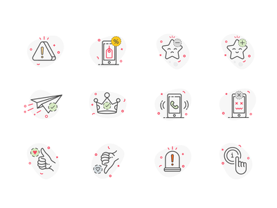 Shopney Mobile Icon iconset add line icons hand star unlike discount favorite warning congratulations sent message info like mobile design icon line vector illustration