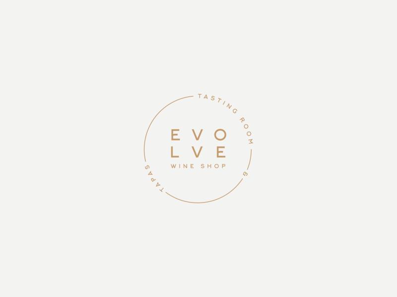 Evolve Wine Shop Badge graphic design branding minimal branding minimal round logo badge logo design logo