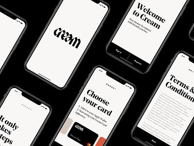 Cream App black  white clean digital design design minimal mobile ui app ui