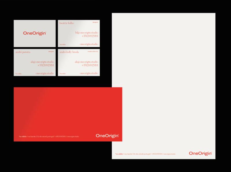 One Origin® Creative Studio creative studio envelope design letterhead design business cards clean red branding stationery studio