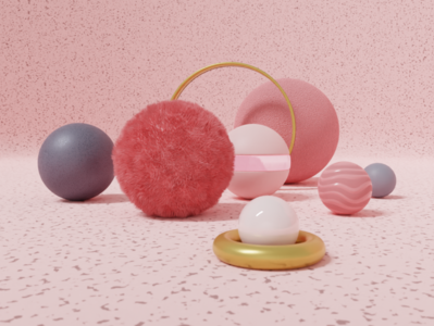 Balls branding blendercycles 3d static artsistic balls modernism pink gold personal project artwork fur design explorations blender3dart rendering materials sphere blender3d blender 3d