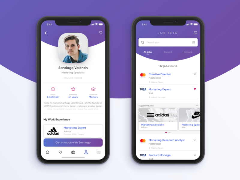 Job Feeder uidesign concept app application x iphone trendy experimental modern gradient dribbble dashboard design app ui ux