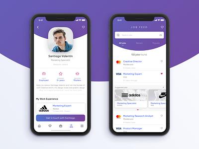 Job Feeder uidesign concept app application x iphone trendy experimental modern gradient dribbble dashboard design app ui ux