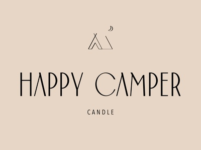 Happy Camper Candle - Logo outdoors tent candle branding candle camper logo brand design brand
