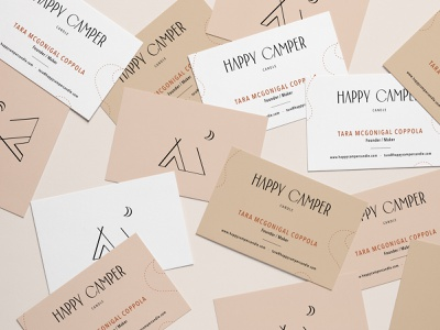 Happy Camper Candle - Business Cards candle logo candle outdoor business card design business card branding