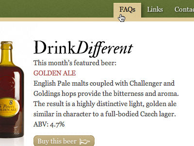 Fantasy redesign: St. Peter's Brewery green beer html5 css3 bottle fantasy redesign