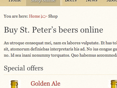 Fantasy redesign: St. Peter's Brewery brown beer html5 css3 bottle e-commerce fantasy redesign