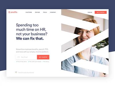 Zenefits Homepage website concept animation enterprise saas web website design web design webdesign website