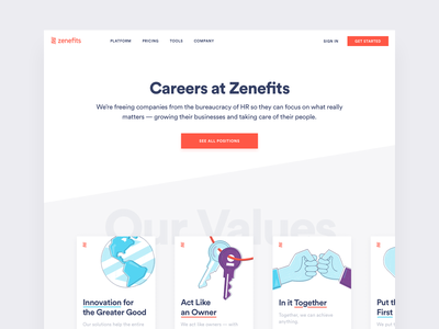 Zenefits Careers Page saas design saas website saas illustrations illustration website concept websites web site web website design web design website