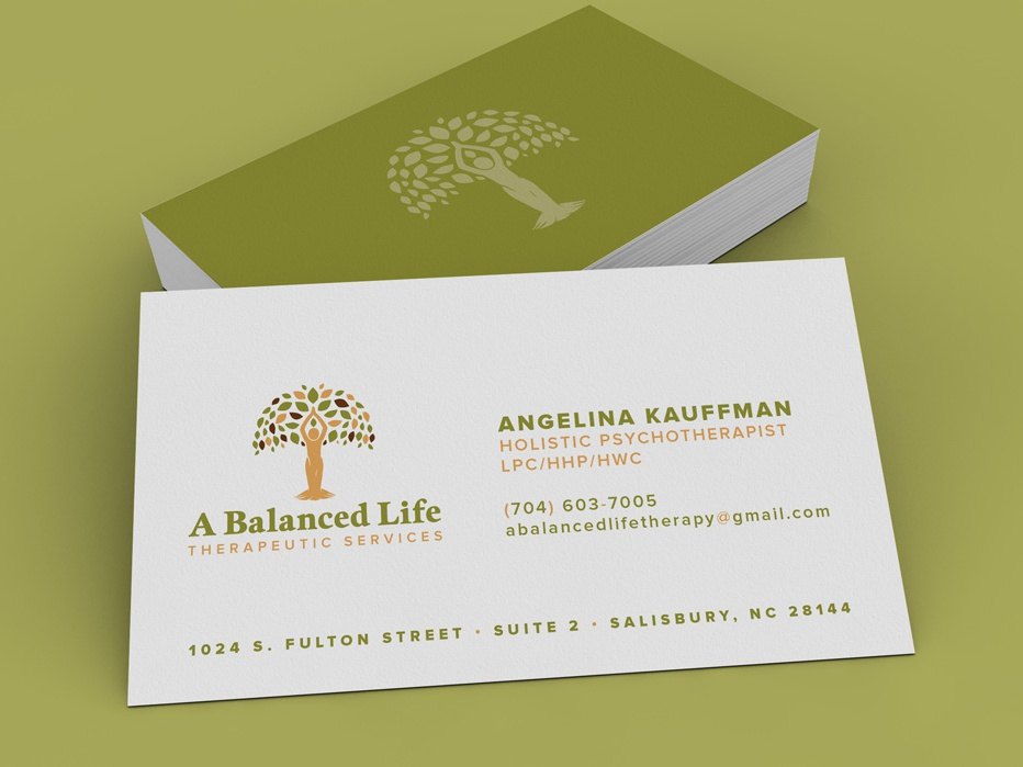 A Balanced Life | Business Card identity design collateral print design mockup business card branding