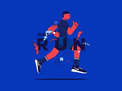 Just Run! Keep moving forwwward flat illustration character new shot new style nike illustration running