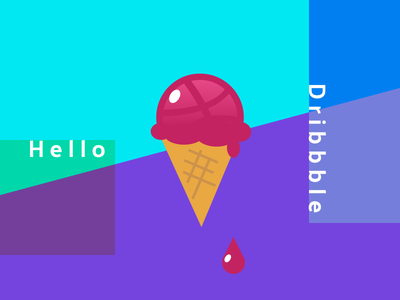 Hello Dribbble! :) dribbble hello colors debut first shot ice cream