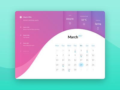 Calendar ui element weather month gradient element ui calendar