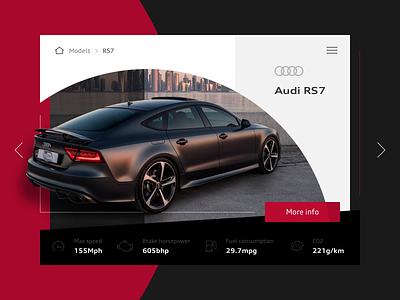 Audi car model selector viewer slider model rs7 car audi