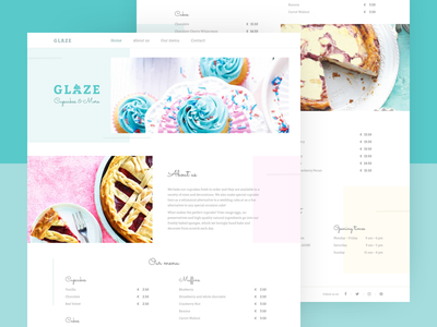 One page bakery concept pastel white baking bakery simple clean one page website