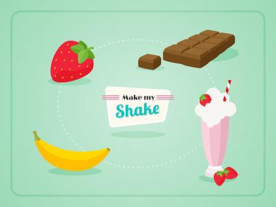 Icons milkshake banana chocolate strawberry icons