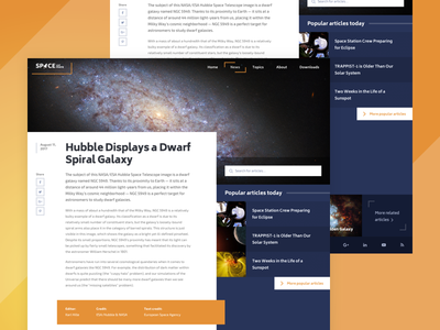 Article Layout Dribbble blue orange page blog news article website