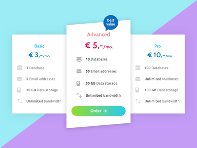 Pricing Table UI ui cards gradient colors colorful clean list packages plans price table pricing