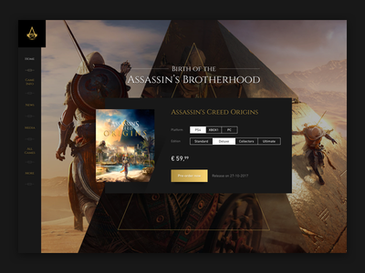 Assassin's Creed Origins homepage minimal dark black gold assassins creed game ui purchase buy product page homepage
