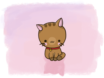 Cute kitten digital art drawing big head character cartoon kitty kitten cat