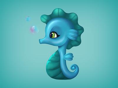 Seahorse digital drawing cute aqua animal water seahorse