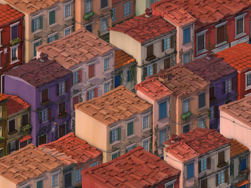 Low Poly San Remo Italian City city windows artwork game dev ivy grass san remo italy building house game cinema 4d design illustration 3d isometric art cinema4d low poly lowpoly