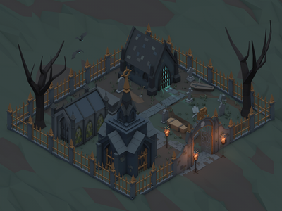 Scary & Fantasy Halloween Pack headstone night crypt cinema4d isometric graveyard cemetery scary spooky halloween lowpoly low poly