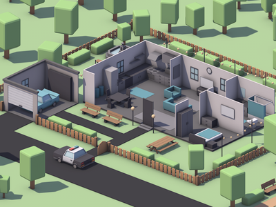 Smart House illustration art garage police room house isometric game game dev cinema 4d low poly lowpoly