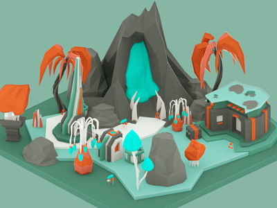 Octane test: Alien Tropic Terrain game indie game dev digital art illustration photoshop alien space lowpoly low poly cinema 4d c4d