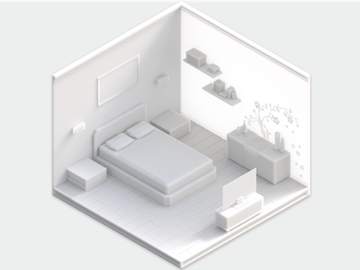 Octane Test: Isometric Room octane room low poly lowpoly japan isometric design cinema4d challenge bedroom art
