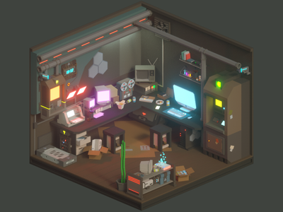 30 Days of Isometric Rooms / Day 17 sony polygonal digital art instagram atm octane room sci fi future computer cyberpunk cinema 4d design illustration 3d isometric art cinema4d low poly lowpoly