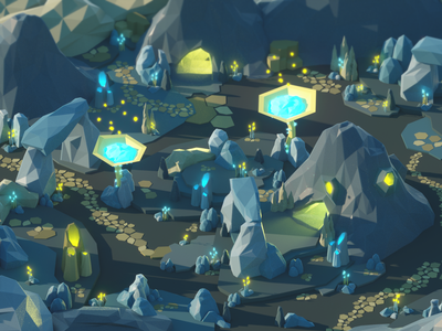 The Fifth Level nature mountain alien yellow blue rock planet octane render octane game space cinema 4d design illustration 3d art isometric cinema4d low poly lowpoly