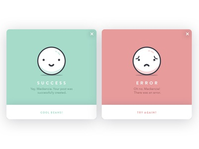 Daily Design 004 - Success & Error Notification Cards characters illustration ui daily design error success notifications