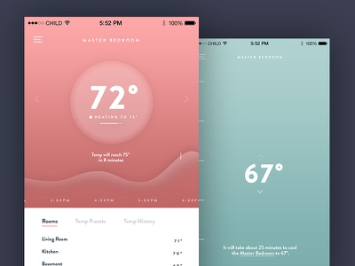 Smart Thermometer UI Concept gesture control ios graph ui smart thermometer