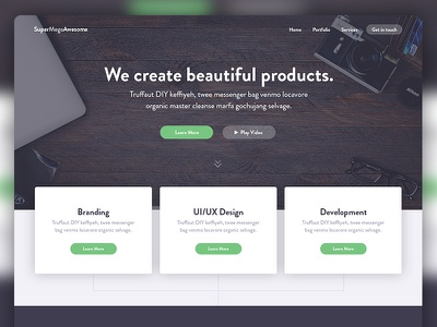 SuperMegaAwesome Agency Landing Page shadows ux ui homepage landing page