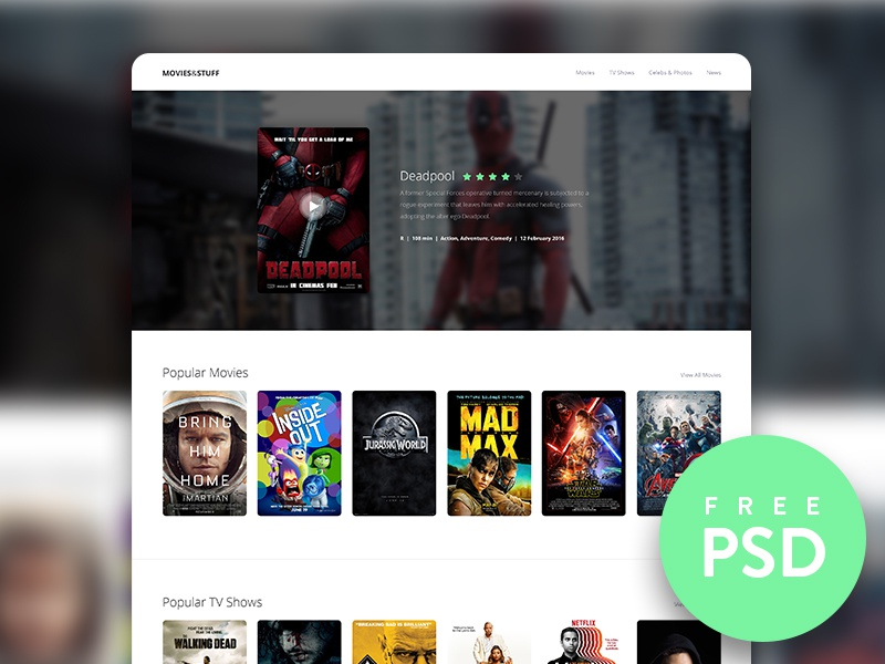 Movie & TV Show Trailer Concept movies trailer landing page homepage ui ux