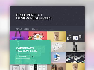 Pixel Perfect Design Resources grid landing page ui