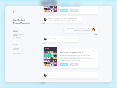 Client Communication App Concept shadow project ui chat