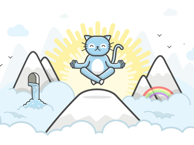 Zen Kitty clouds landscape character cat kitty chico illustration