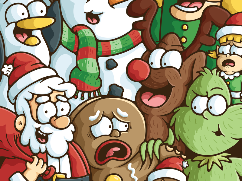 Christmas Character Mashup doodle illustration polar bear yeti nutcracker snowman reindeer gingerbread man the grinch santa